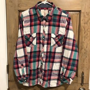 Sonoma Tops - 2X Plaid Flannel Button-Up